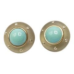 Turquoise Diamond 14 Karat Gold Earrings