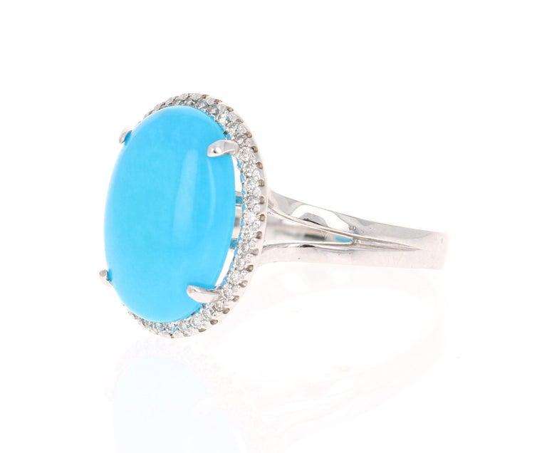 Modern Turquoise Diamond 14 Karat White Gold Cocktail Ring For Sale