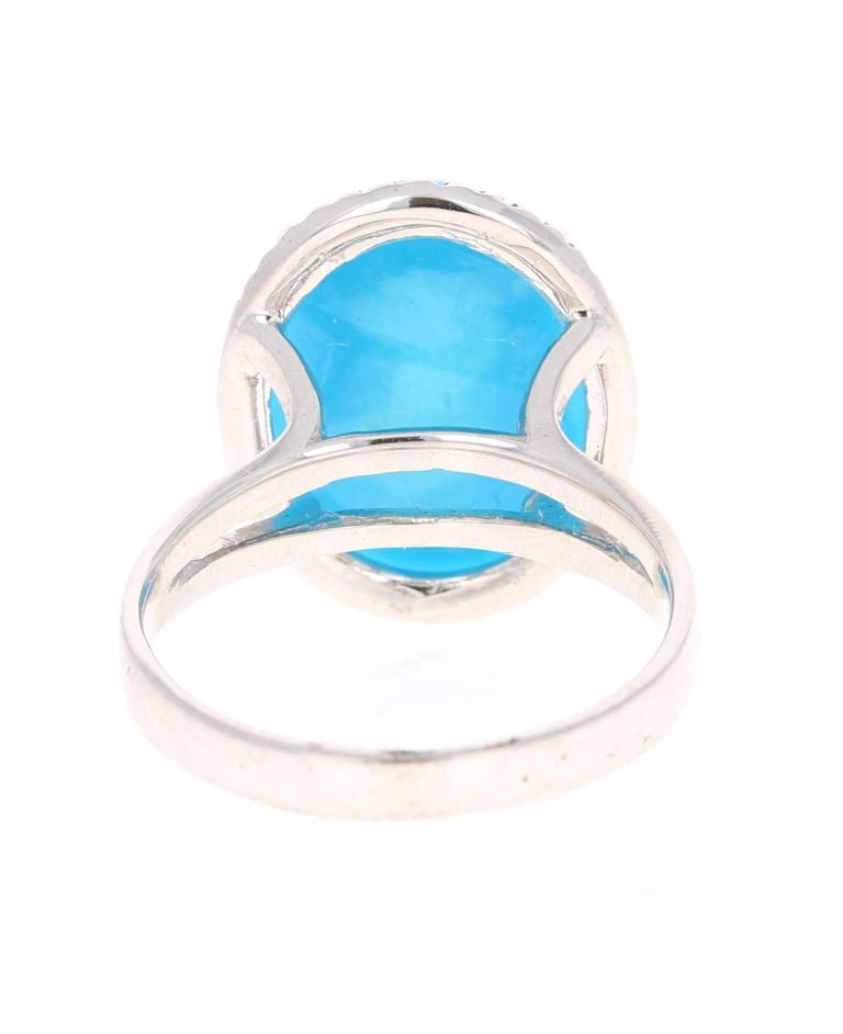 Oval Cut Turquoise Diamond 14 Karat White Gold Cocktail Ring For Sale