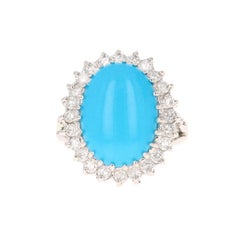 Turquoise Diamond 14 Karat White Gold Cocktail Ring