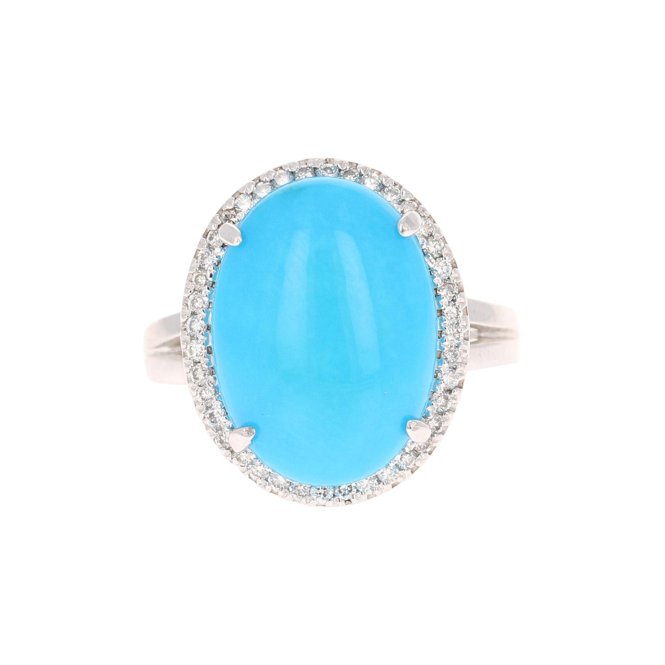 Turquoise Diamond 14 Karat White Gold Cocktail Ring