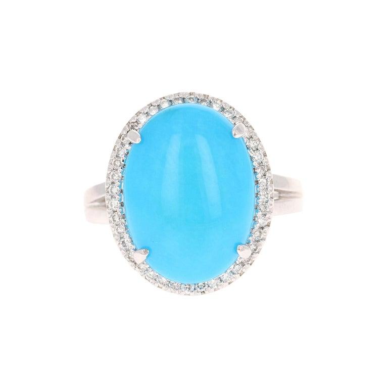 Turquoise Diamond 14 Karat White Gold Cocktail Ring For Sale