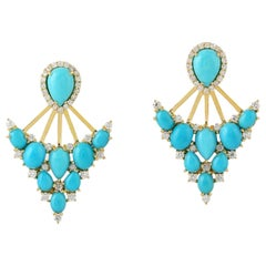 Turquoise Diamond 18 Karat Gold Ear Jacket Earrings