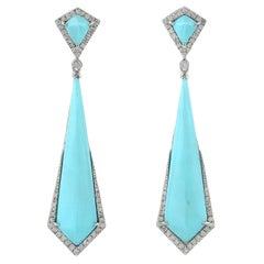 Turquoise Diamond 18 Karat Gold Earrings