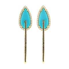 Turquoise Diamond 18 Karat Gold Hoop Earrings