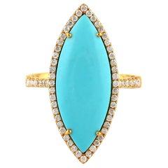 Turquoise Diamond 18 Karat Gold Ring