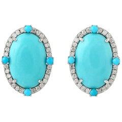 Turquoise Diamond 18 Karat Gold Stud Earrings