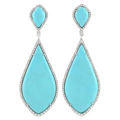 Turquoise Diamond 18 Karat White Gold Earrings