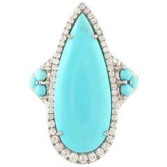 Turquoise Diamond 18 Karat White Gold Ring