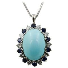 Turquoise, Diamond and Blue Sapphire Platinum Pendant