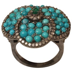 Turquoise, Diamond and Emerald Flower Ring
