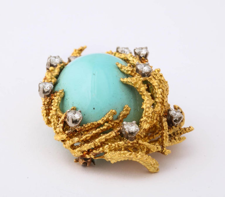 Oval Cut Turquoise, Diamond and Gold Brooch For Sale