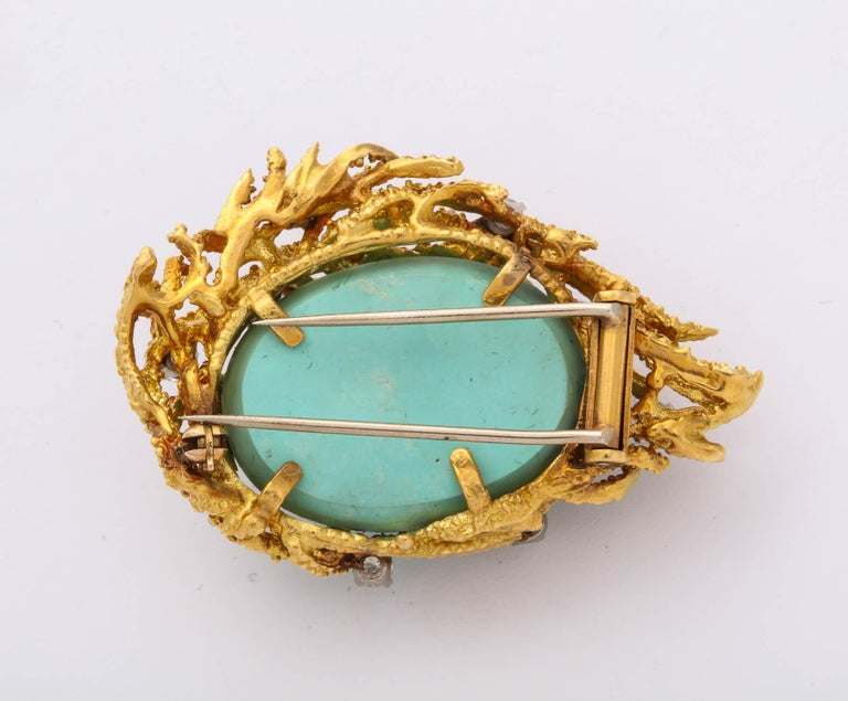 Women's Turquoise, Diamond and Gold Brooch For Sale
