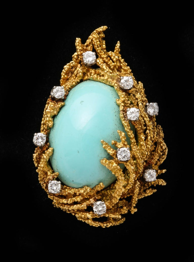 Turquoise, Diamond and Gold Brooch For Sale 1