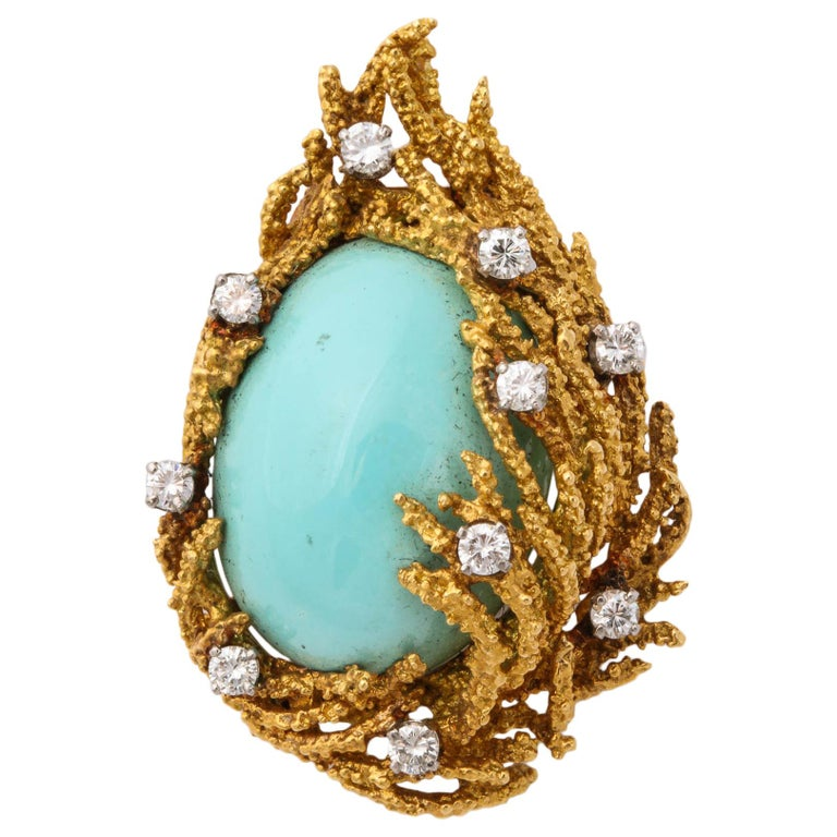 Turquoise, Diamond and Gold Brooch For Sale