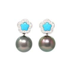 Turquoise Diamond and Tahitian Pearl Dangling Earrings in 18k