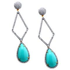 Turquoise Diamond Cinderella Earrings