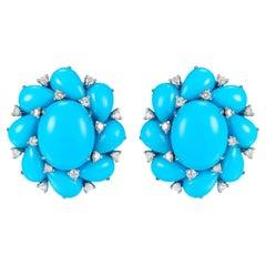 Turquoise Diamond Cluster Earring in 14 Karat White Gold