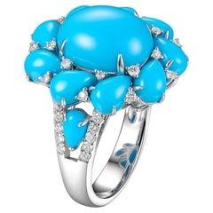 Turquoise Diamond Cluster Ring in 14 Karat White Gold