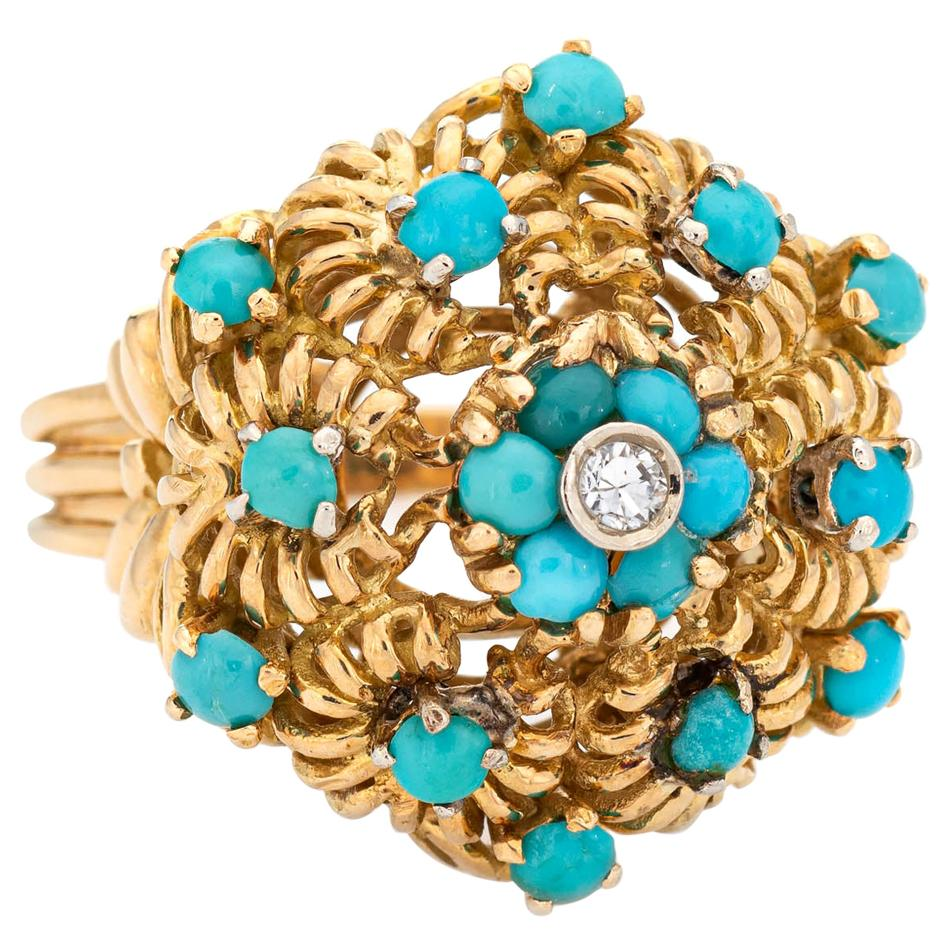 Turquoise Diamond Cluster Ring Vintage 18 Karat Yellow Gold Large Dome Jewelry