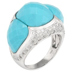 Turquoise Diamond Dome Cocktail Ring Estate 18 Karat Gold Fine Vintage Jewelry