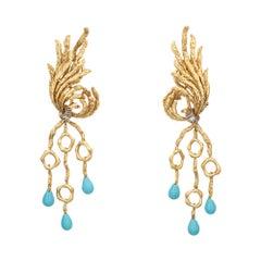 Turquoise Diamond Drop Earrings Vintage 70s Clip On Long Branch Jewelry