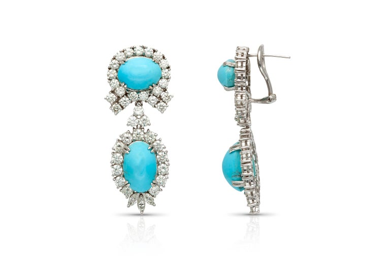 Turquoise Diamond Earrings In Good Condition For Sale In New York, NY