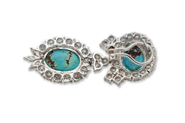 Women's Turquoise Diamond Earrings For Sale