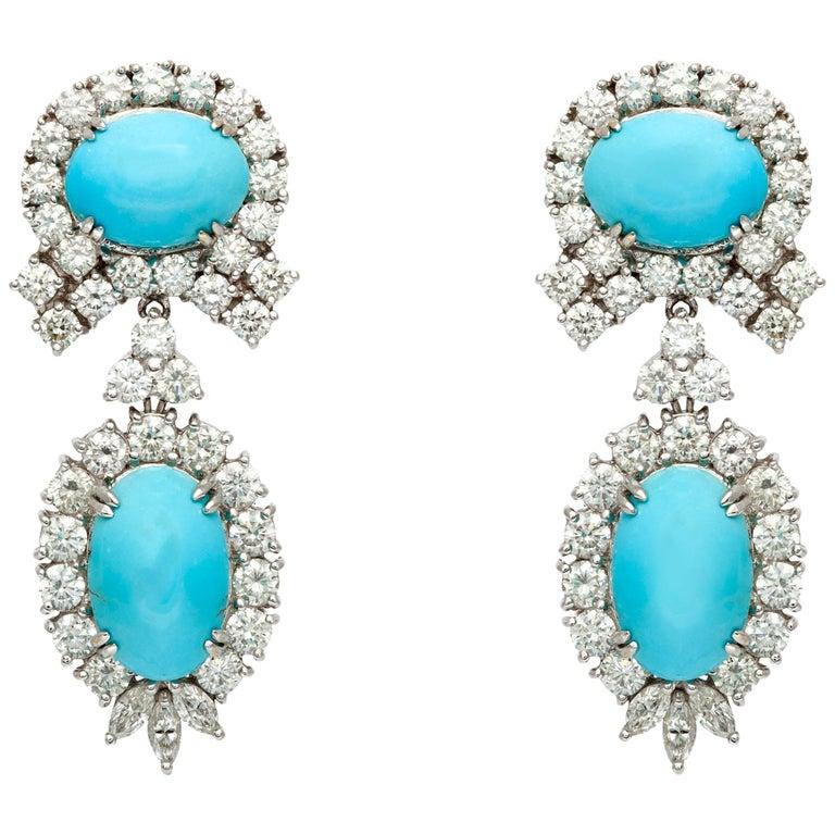 Turquoise Diamond Earrings For Sale
