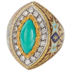 Turquoise Diamond Enamel and 18 Karat Gold Cazzaniga Roma Cocktail Dress Ring