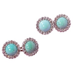 Turquoise Diamond Gold Cufflinks, End of 19th Century