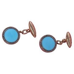 Turquoise Diamond Gold Cufflinks Russia Late 19th Century