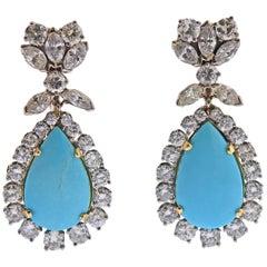 Turquoise Diamond Gold Drop Earrings