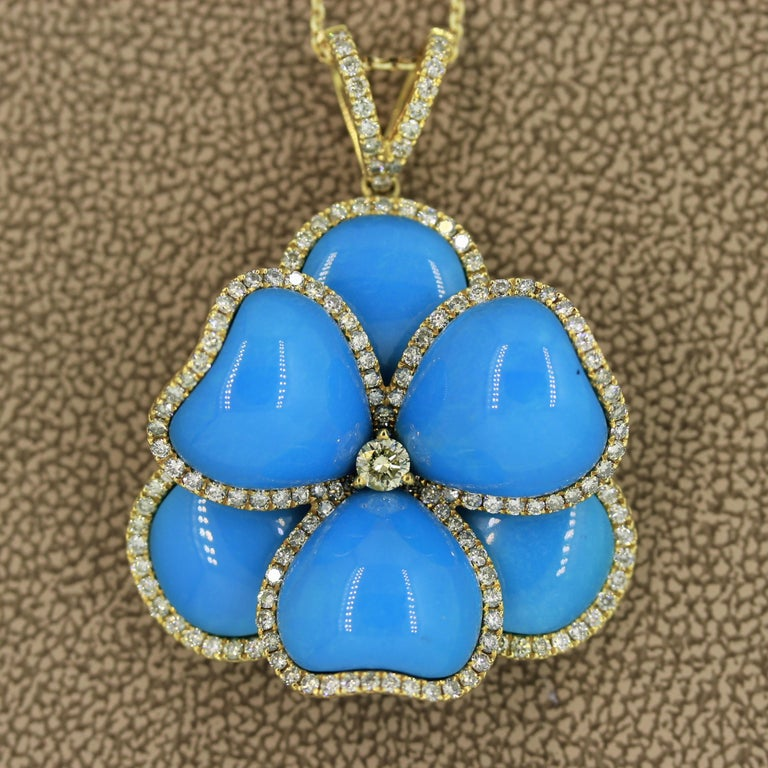 Round Cut Turquoise Diamond Gold Flower Pendant Necklace For Sale