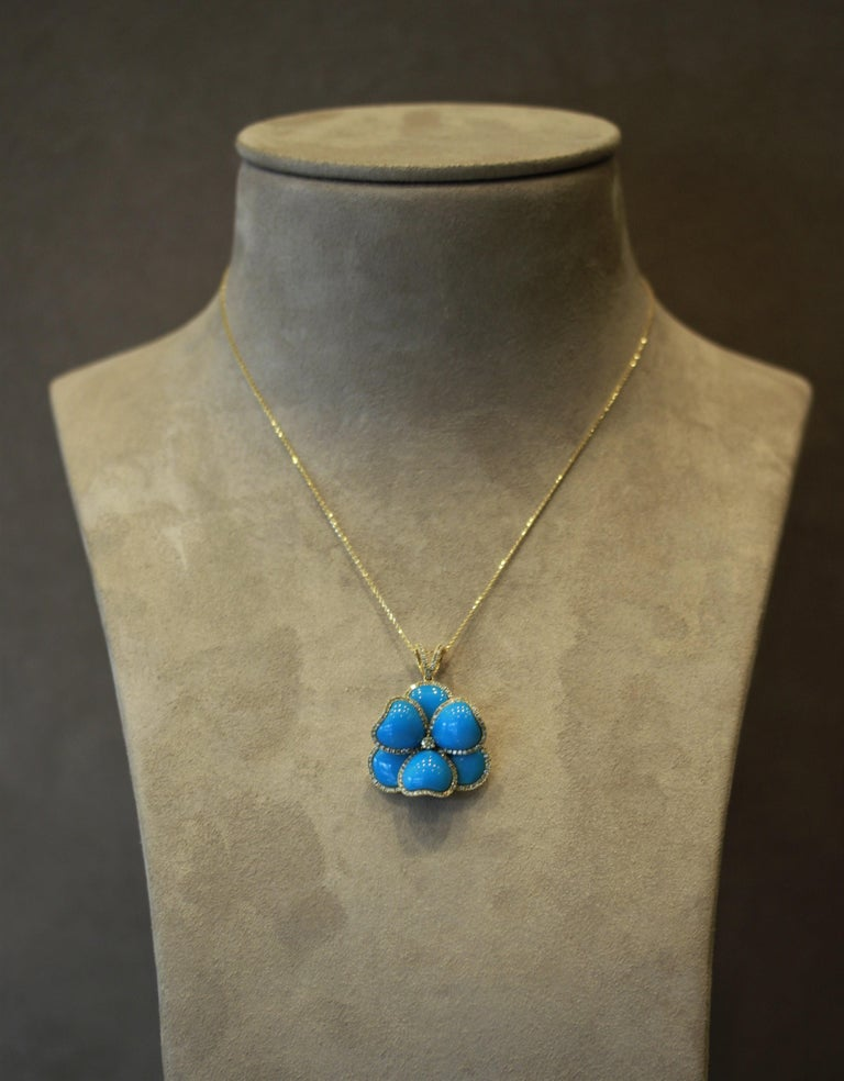 Turquoise Diamond Gold Flower Pendant Necklace For Sale 1