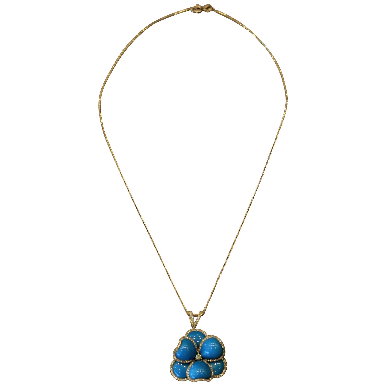 Turquoise Diamond Gold Flower Pendant Necklace