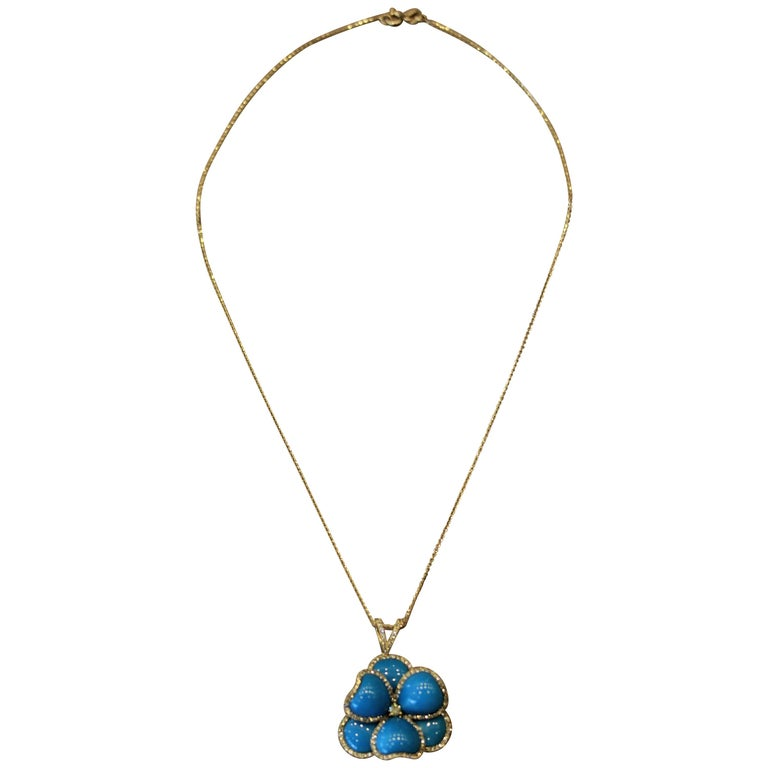 Turquoise Diamond Gold Flower Pendant Necklace For Sale