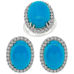 Turquoise Diamond Gold Ring and Earrings Set
