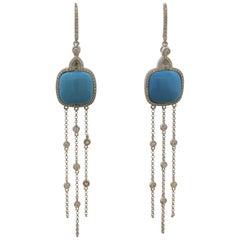 Turquoise Diamond Gold Tassel Drop Earrings