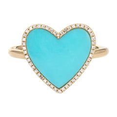 Turquoise Diamond Heart Ring Estate 14k Yellow Gold Large Cocktail Jewelry