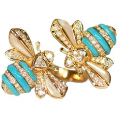 Turquoise Diamond Mother of Pearl 18 Karat Pink Gold Bee Ring