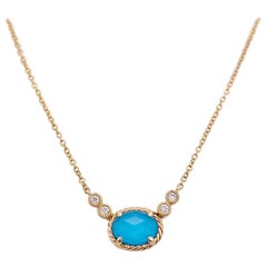 Turquoise Diamond Necklace with four Diamonds, Designer Yellow Gold