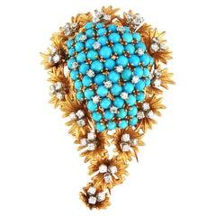 Turquoise & Diamond Paisley Brooch