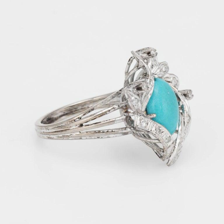 Oval Cut Turquoise Diamond Palladium Ring Vintage Jewelry