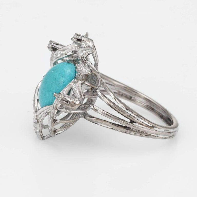 Turquoise Diamond Palladium Ring Vintage Jewelry In Excellent Condition In Torrance, CA
