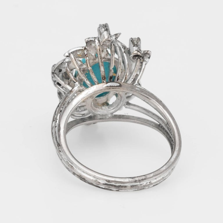 Women's Turquoise Diamond Palladium Ring Vintage Jewelry