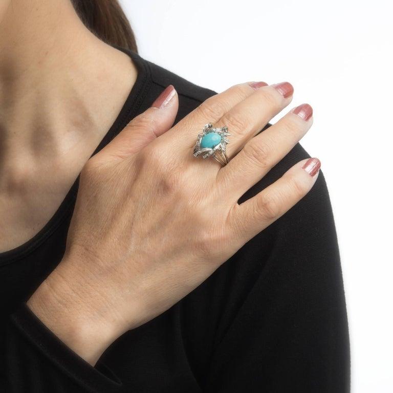 Turquoise Diamond Palladium Ring Vintage Jewelry 1