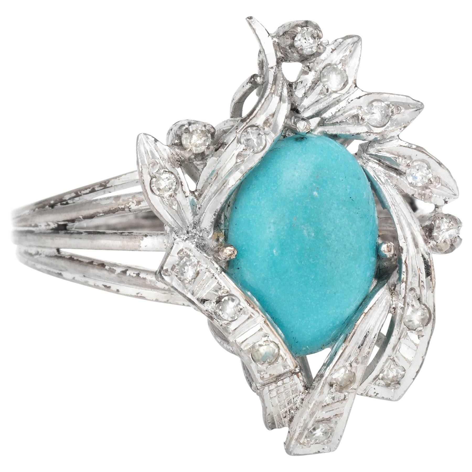 1940s turquoise diamond Palladium ring