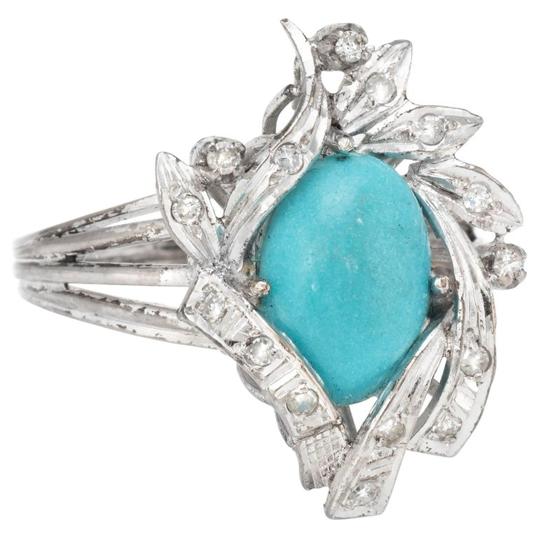 Turquoise Diamond Palladium Ring Vintage Jewelry