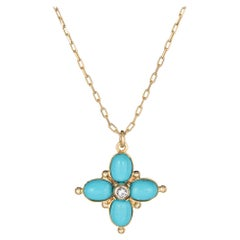 Turquoise Diamond Pendant Necklace Vintage 14 Karat Yellow Gold Chain Jewelry